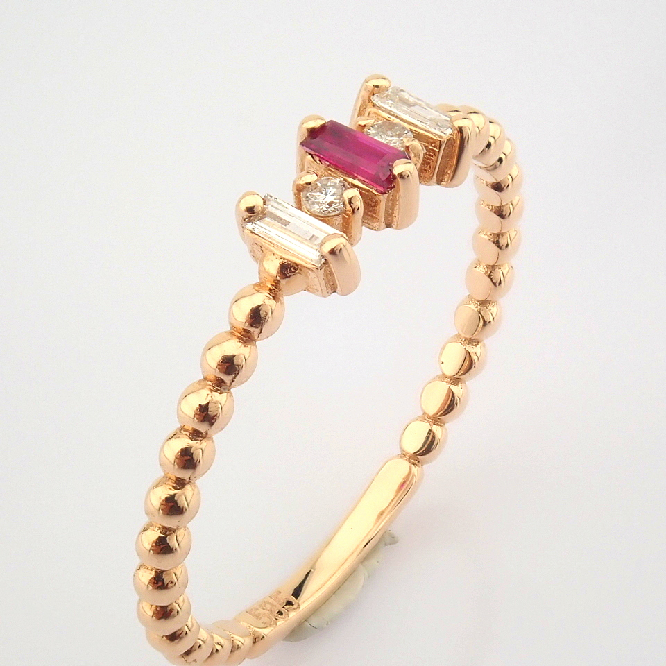14K White and Rose Gold Diamond & Ruby Ring - Image 5 of 8