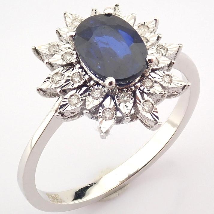 14K White Gold Diamond & Sapphire Ring - Image 3 of 8