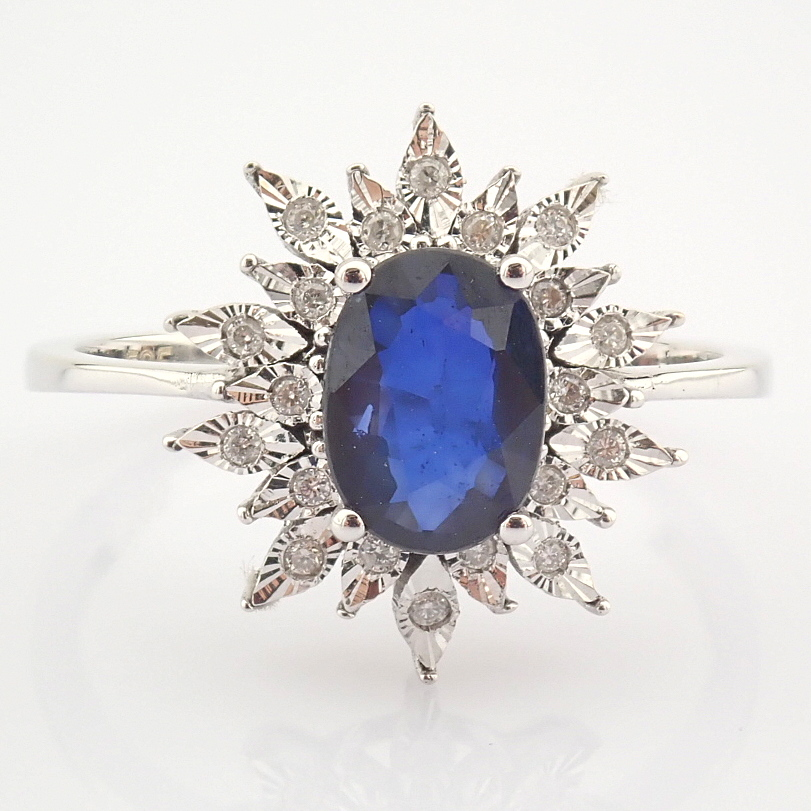 14K White Gold Diamond & Sapphire Ring - Image 7 of 8