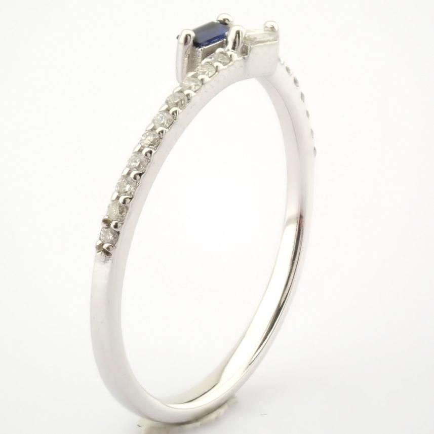 14K White Gold Diamond & Sapphire Ring - Image 4 of 7