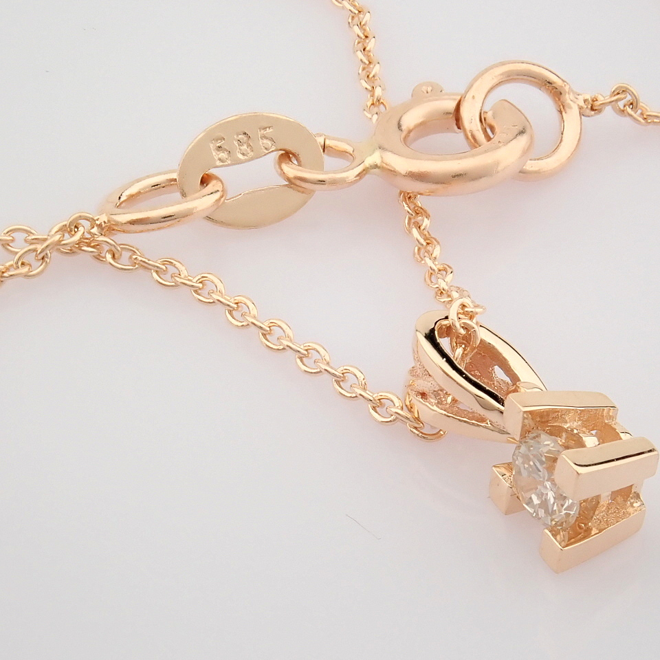 14K Rose/Pink Gold Diamond Solitaire Necklace - Image 5 of 7