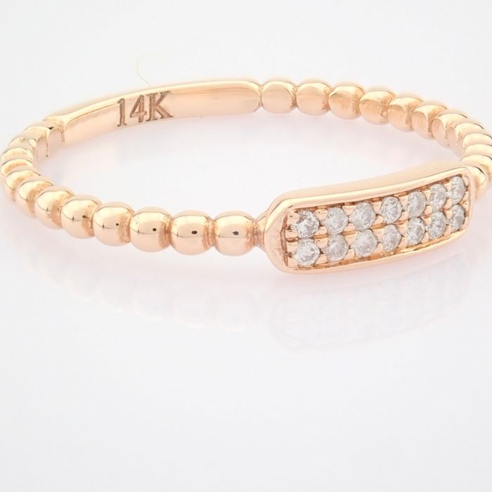 14 kt. Pink gold - Ring - 0.07 Ct. Diamond - Image 8 of 8