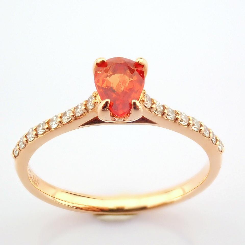 14K Rose/Pink Gold Diamond & Orange Sapphire Ring - Image 7 of 7