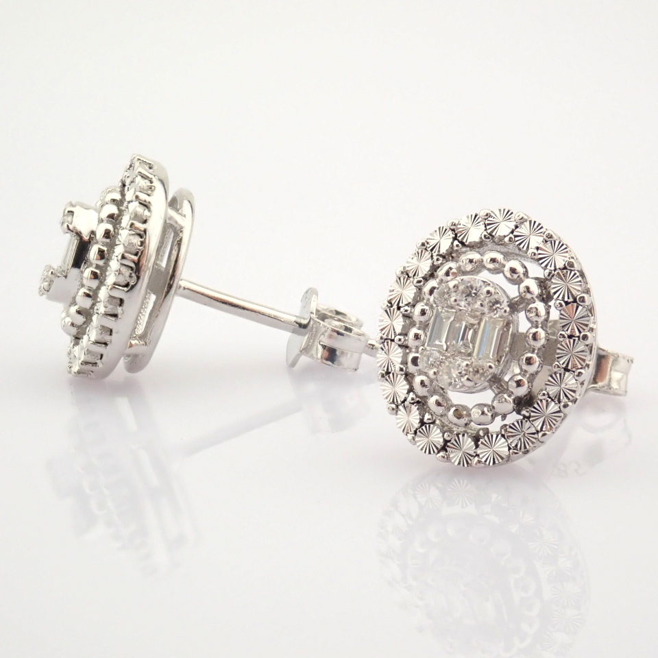 14K White Gold Diamond Earring - Image 3 of 10