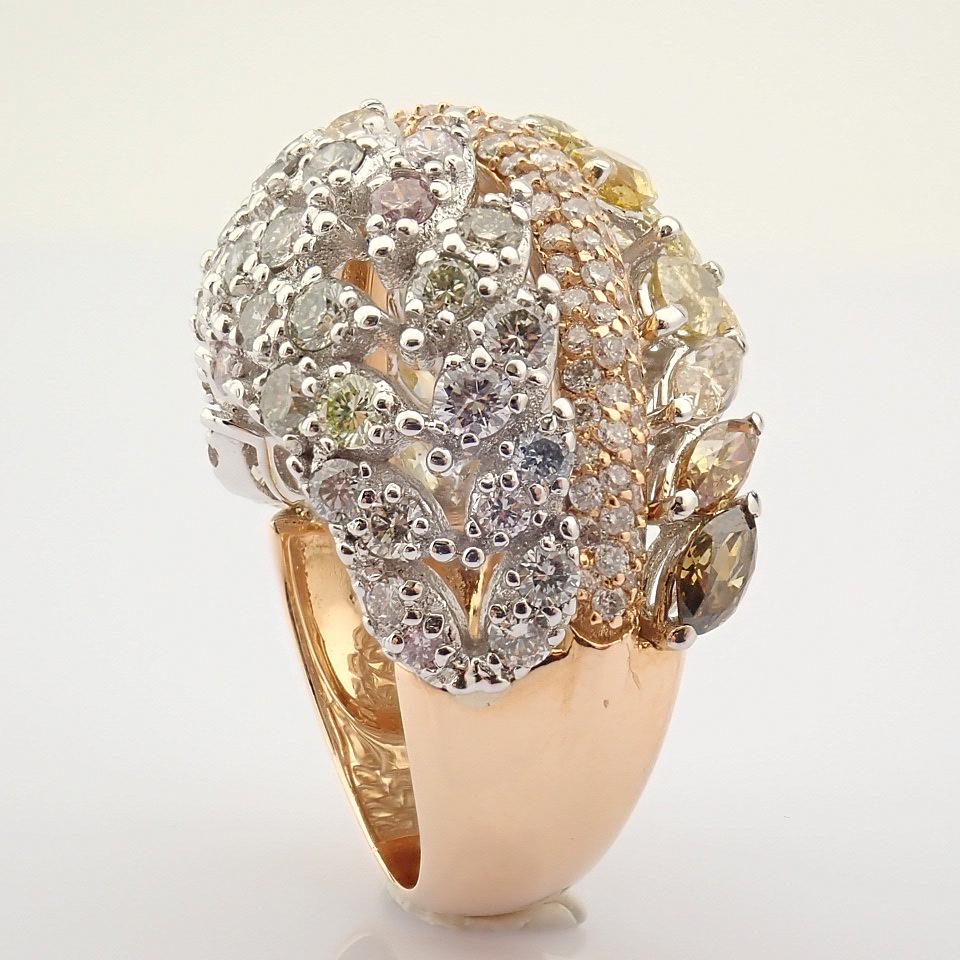 18K Rose Gold Ring- Total 4,31 Ct. Diamond - Image 2 of 8