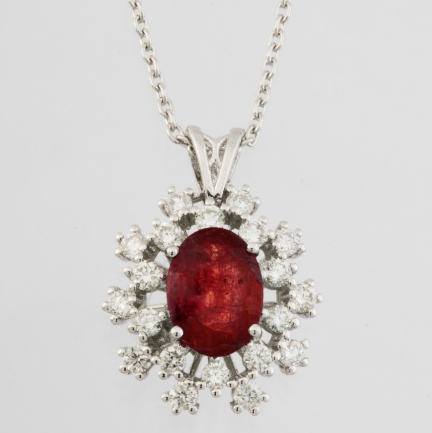 18K White Gold Ruby Cluster Pendant Necklace Total 1.77 Ct. - Image 2 of 3