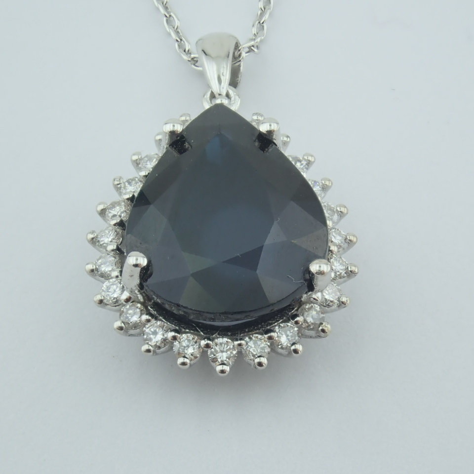 14K White Gold Diamond & Sapphire Necklace - Image 5 of 13