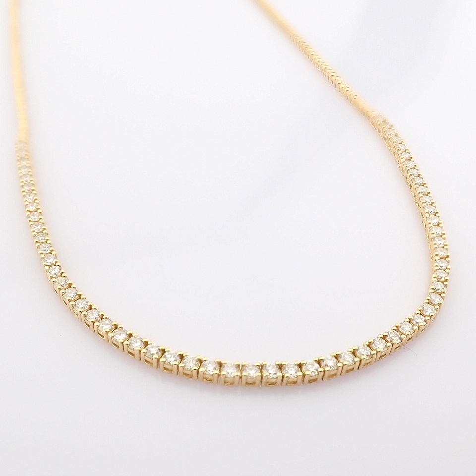 14K Yellow Gold Half Eternity Necklace 3,20 Ct. - Image 9 of 14