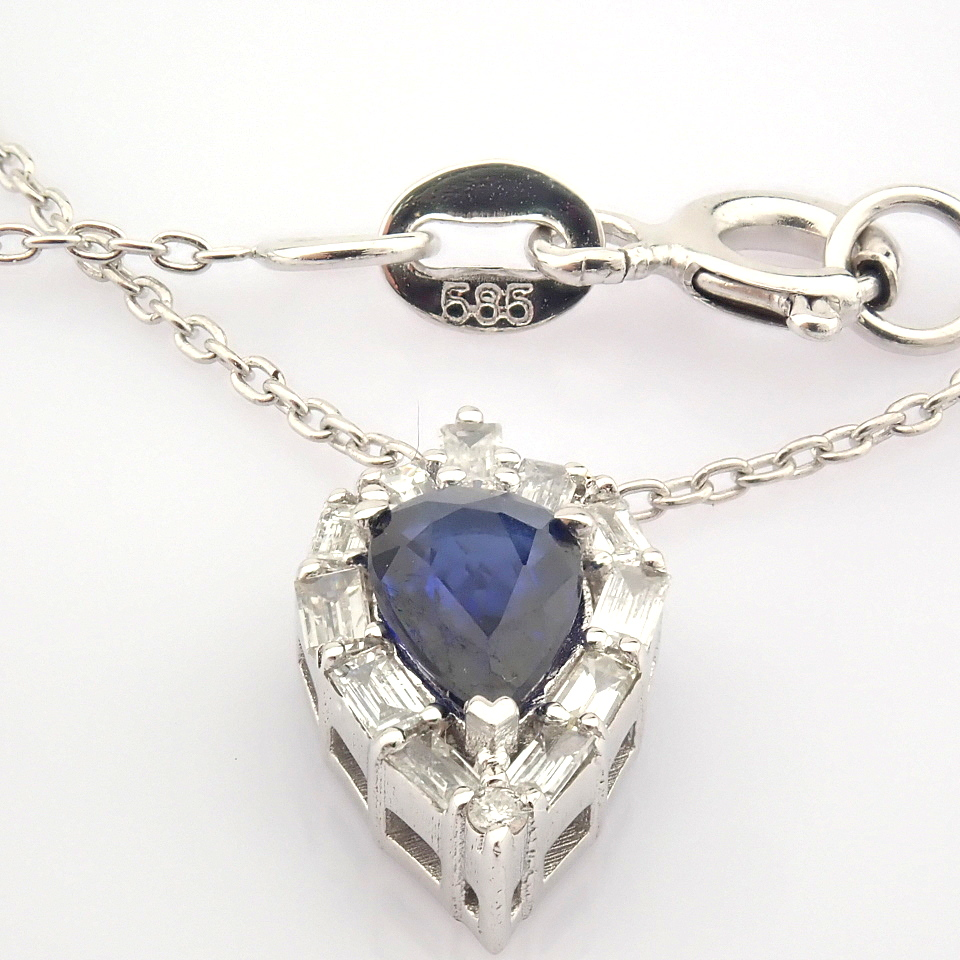14K White Gold Diamond & Sapphire Necklace - Image 6 of 8