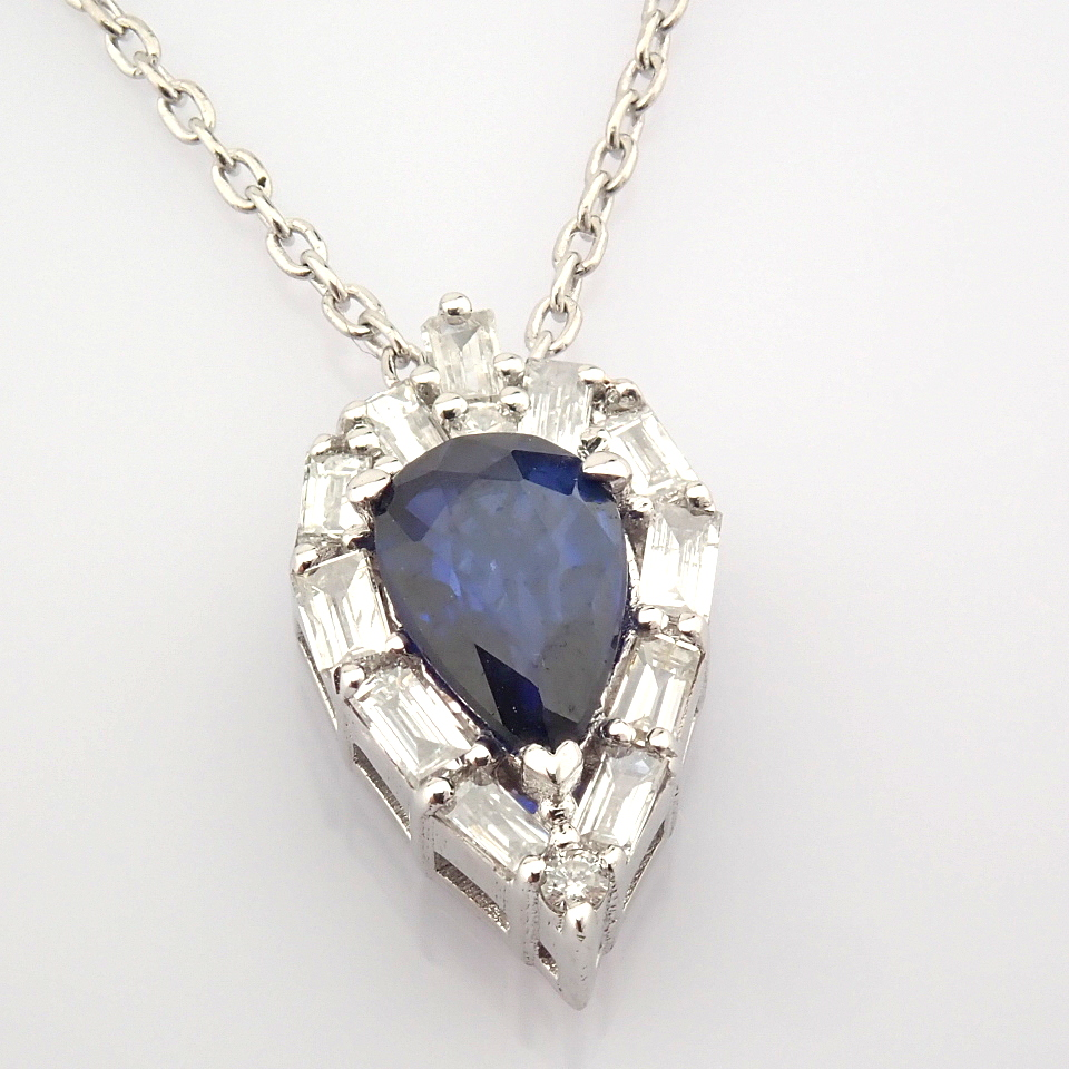 14K White Gold Diamond & Sapphire Necklace - Image 3 of 8