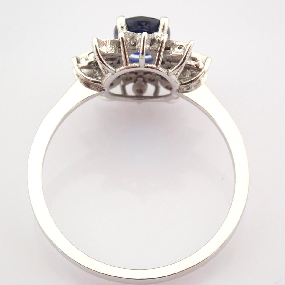 14K White Gold Diamond & Sapphire Ring - Image 8 of 8