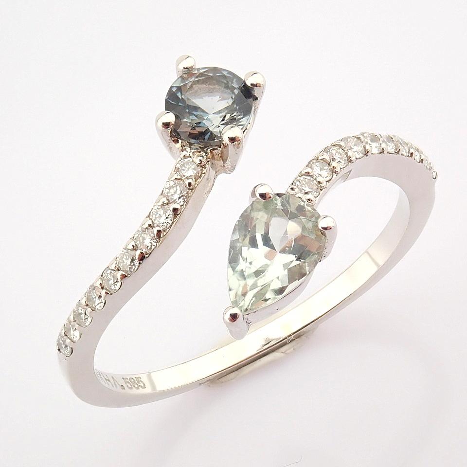 14K White Gold Diamond & Tourmaline Ring