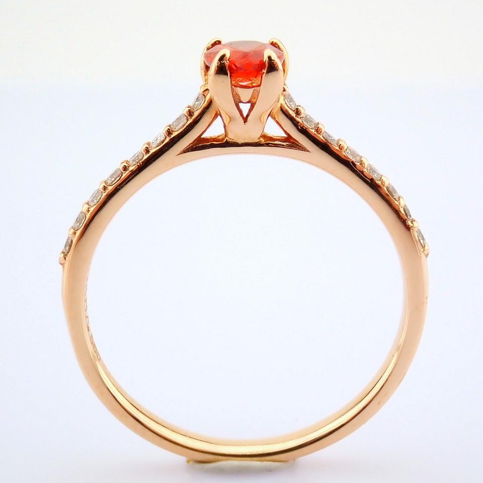 14K Rose/Pink Gold Diamond & Orange Sapphire Ring - Image 2 of 7