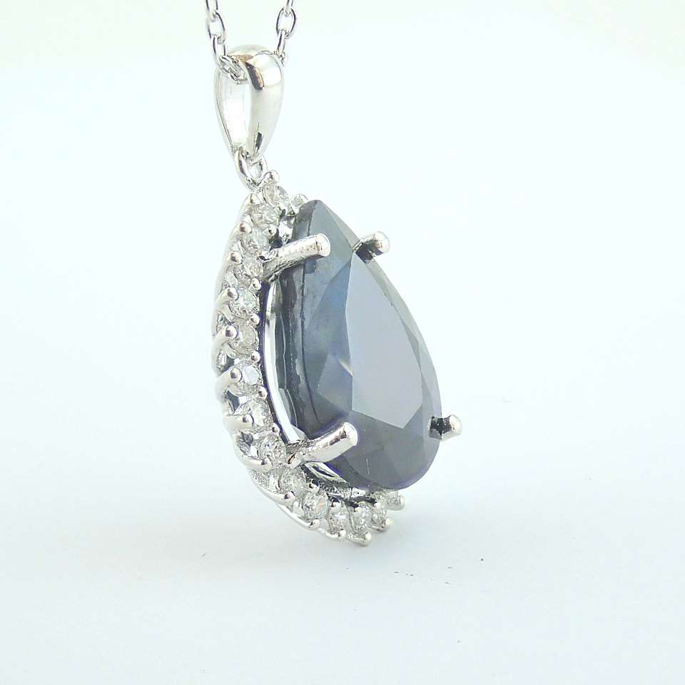 14K White Gold Diamond & Sapphire Necklace - Image 10 of 13