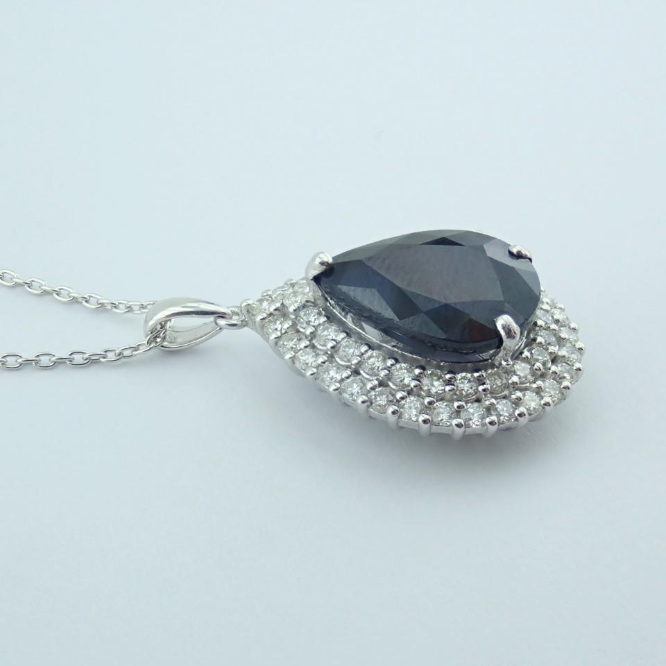 14K White Gold Diamond & Emerald Necklace - Image 5 of 14