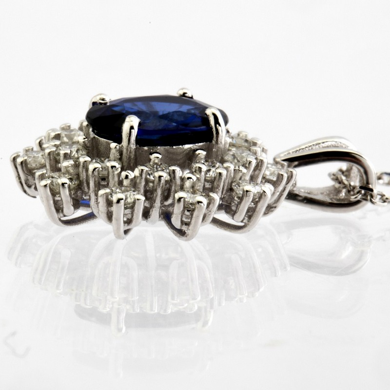 18K White Gold Sapphire Cluster Pendant Necklace Total 1.77 Ct. - Image 9 of 9