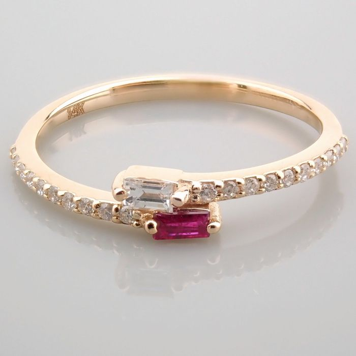 14 kt. Yellow gold - Ring - 0.14 Ct. Diamond - Ruby - Image 5 of 14