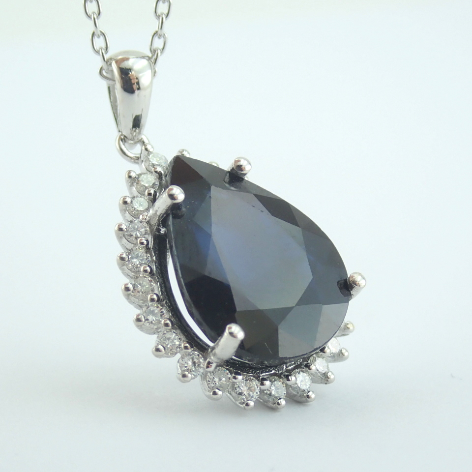 14K White Gold Diamond & Sapphire Necklace - Image 12 of 13