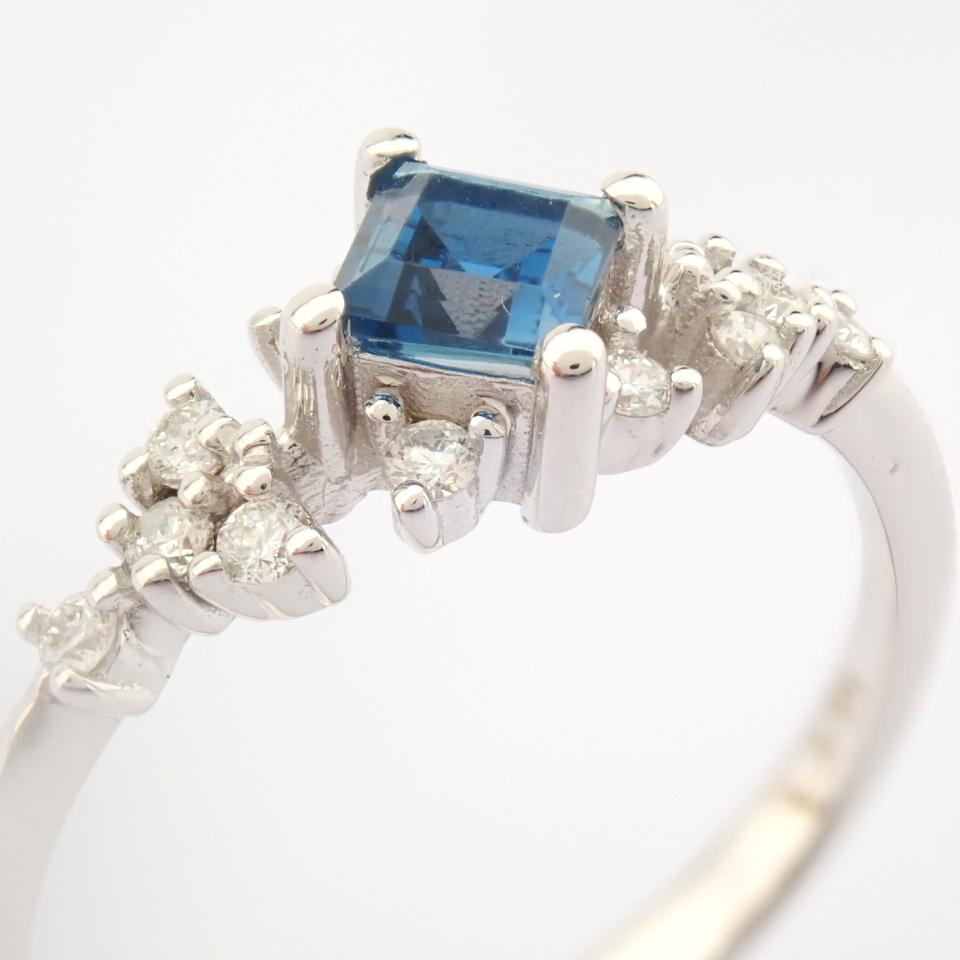 14K White Gold Diamond & London Blue Topaz Ring - Image 10 of 10