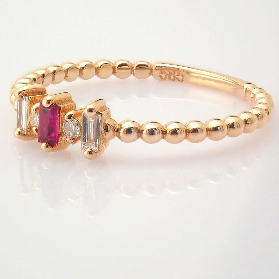 14K White and Rose Gold Diamond & Ruby Ring - Image 8 of 8