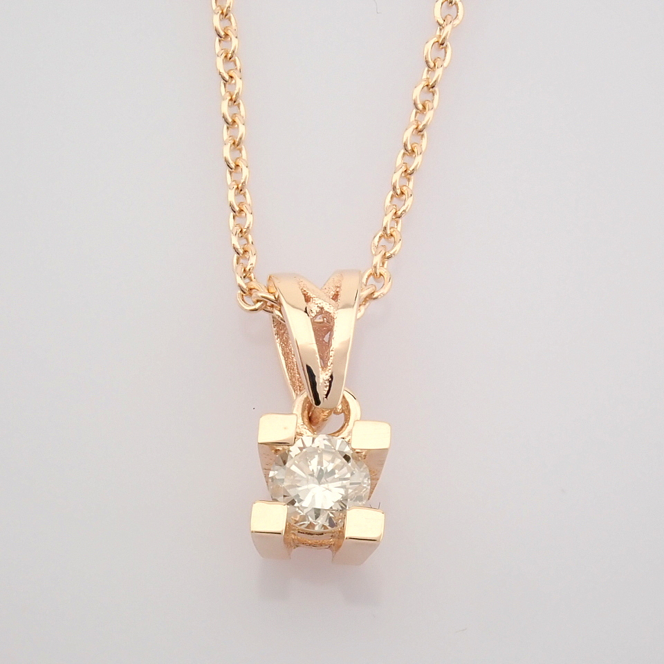 14K Rose/Pink Gold Diamond Solitaire Necklace - Image 3 of 7