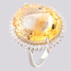 14K White Gold Large Cluster Ring 17,90 Ct. Citrine - 0,55 Ct. Diamond