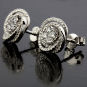 14 kt. White gold - Earrings - 0.58 Ct. Diamond