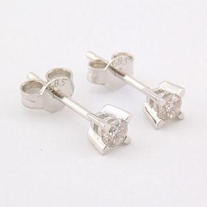 14 kt. White gold - Earrings - 0.20 Ct. Diamond