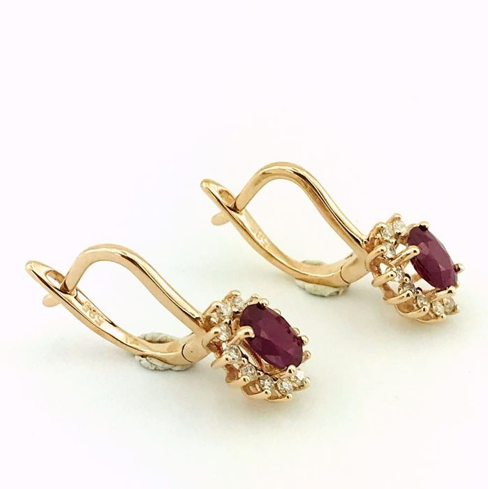 14K Pink Gold Cluster Earring , Natural Ruby and Diamond - Image 2 of 7