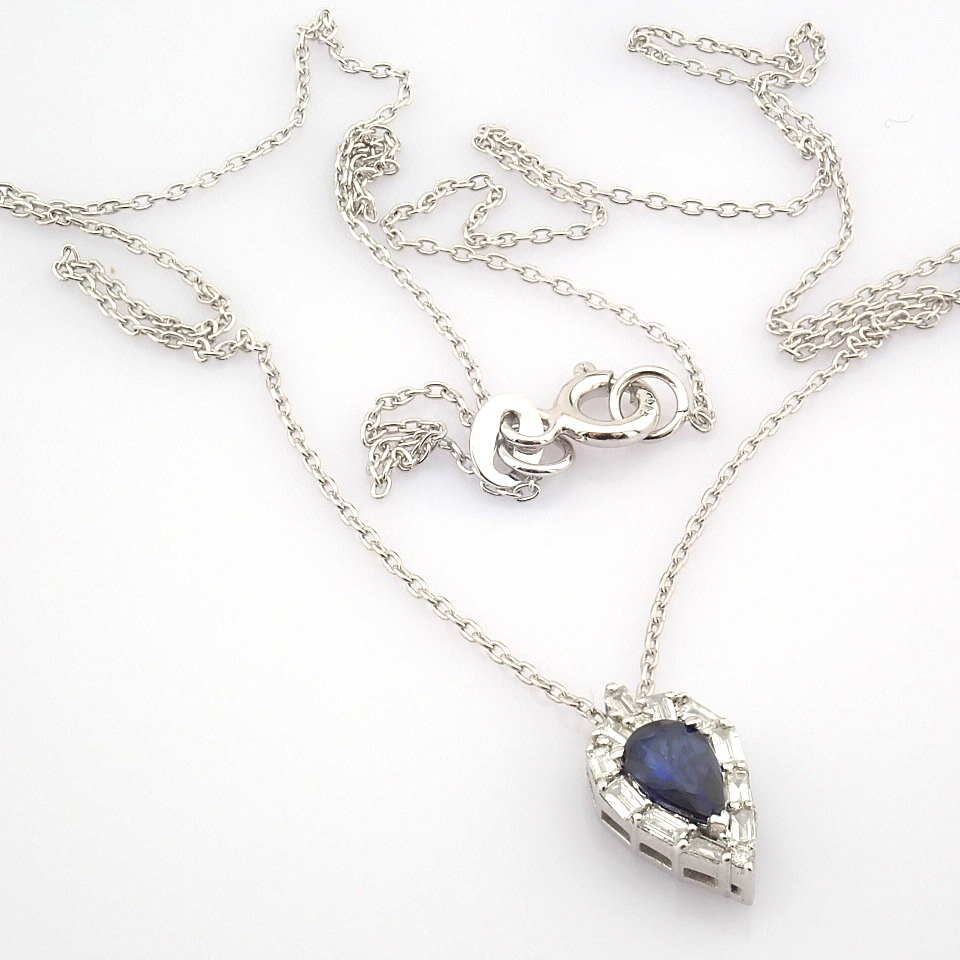 14K White Gold Diamond & Sapphire Necklace - Image 7 of 8