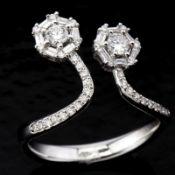 14 kt. White gold - Ring - 0.57 Ct. Diamond