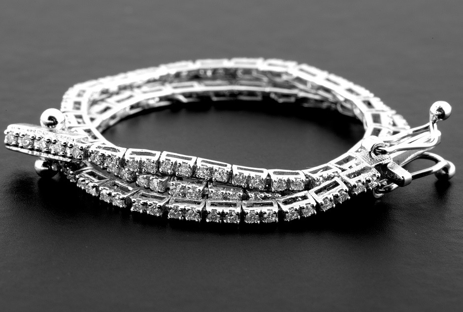 14K 0,60 Ct. Diamond Tennis Bracelet (Cube)