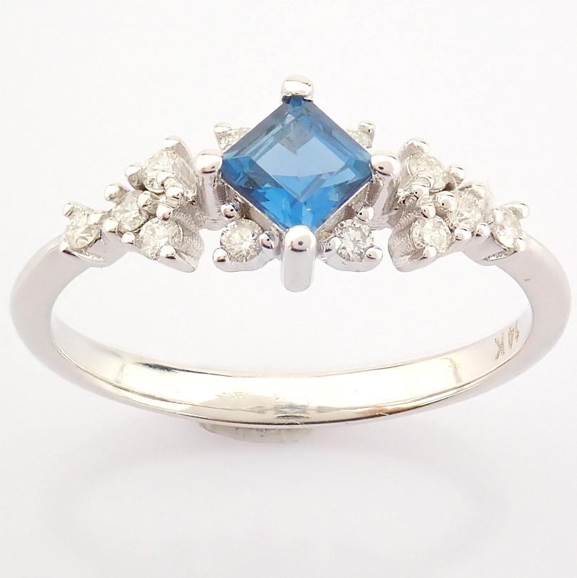 14K White Gold Diamond & London Blue Topaz Ring - Image 8 of 10