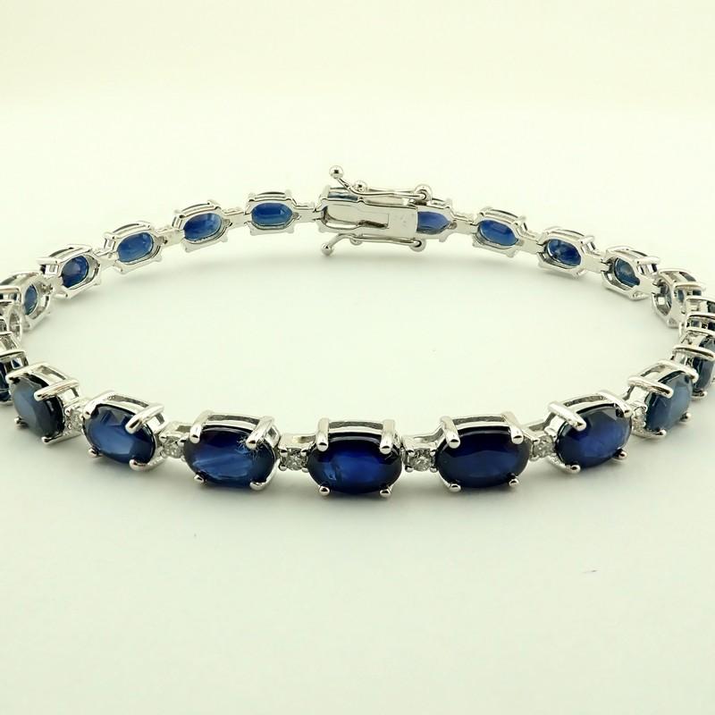 14K Diamond & Sapphire Bracelet 13,74 Ct. Total - Image 3 of 6