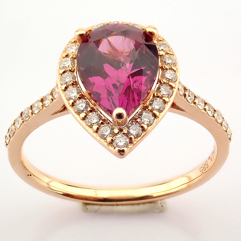 14K Yellow and Rose Gold Diamond & Rodalite Ring - Image 2 of 7