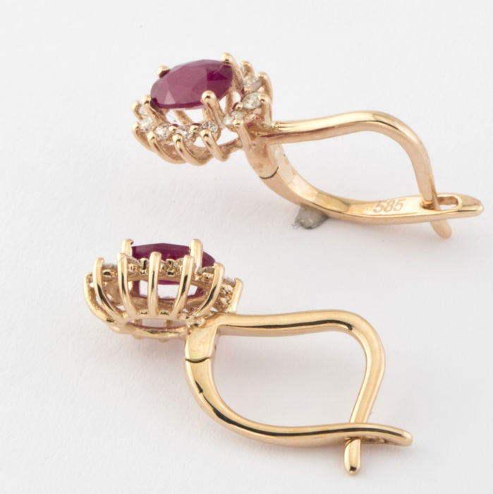 14K Pink Gold Cluster Earring , Natural Ruby and Diamond - Image 6 of 7