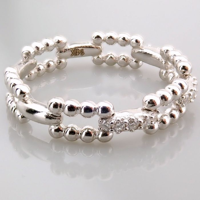 14 kt. White gold - Ring - 0.12 Ct. Diamond - Image 6 of 7