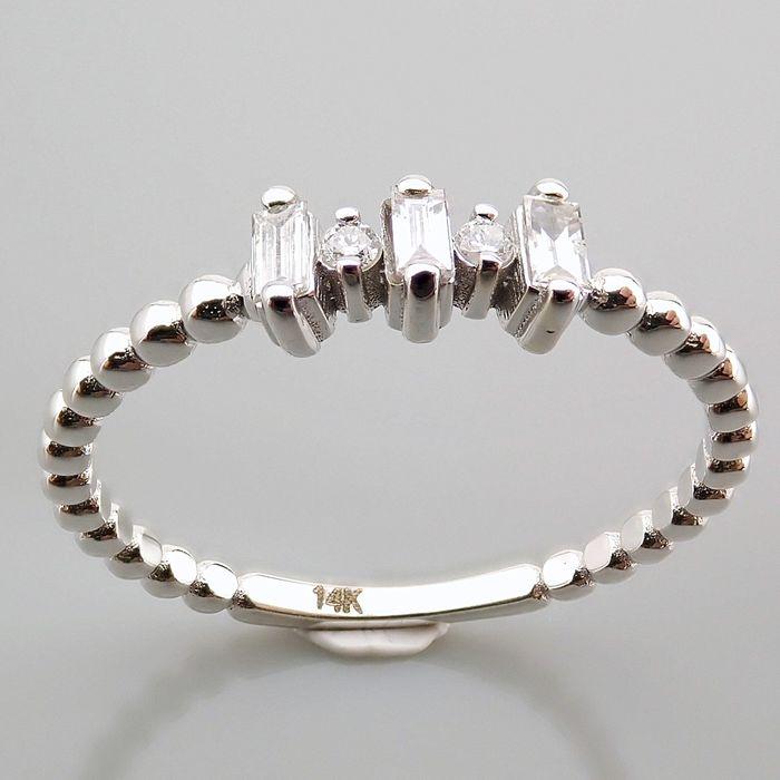 14 kt. White gold - Ring - 0.12 Ct. Diamond - Image 6 of 13