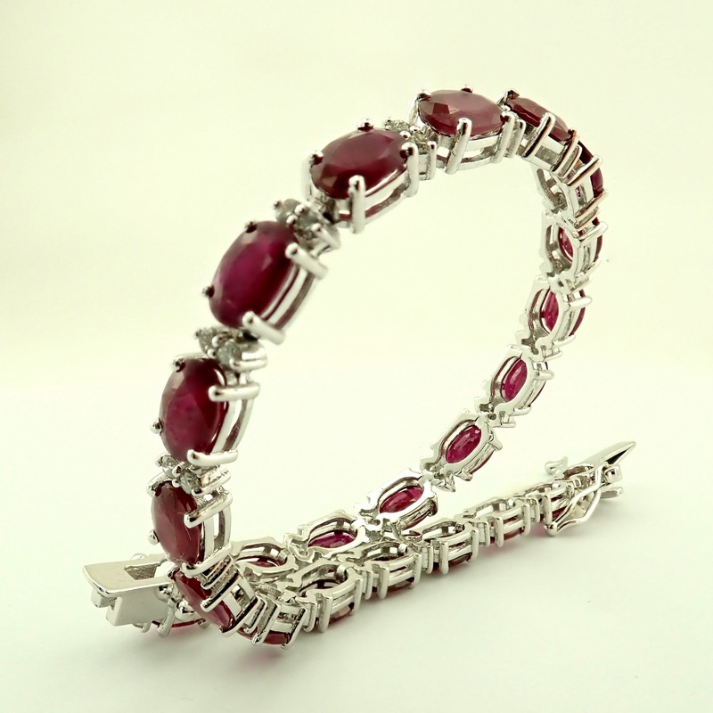 14K Diamond & Ruby Bracelet 11,87ct Total - Image 5 of 5