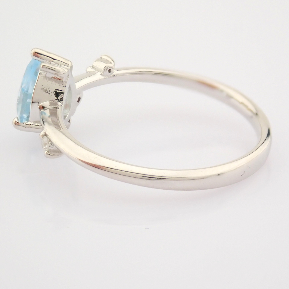 14K White Gold Diamond & Swiss Blue Topaz Ring - Image 10 of 12