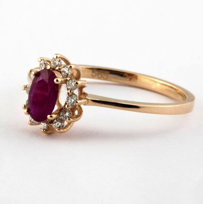 14K Pink Gold Cluster Ring , Natural Ruby and Diamond - Image 4 of 6