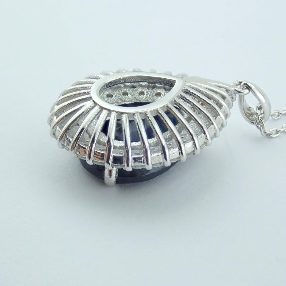 14K White Gold Diamond & Emerald Necklace - Image 12 of 14