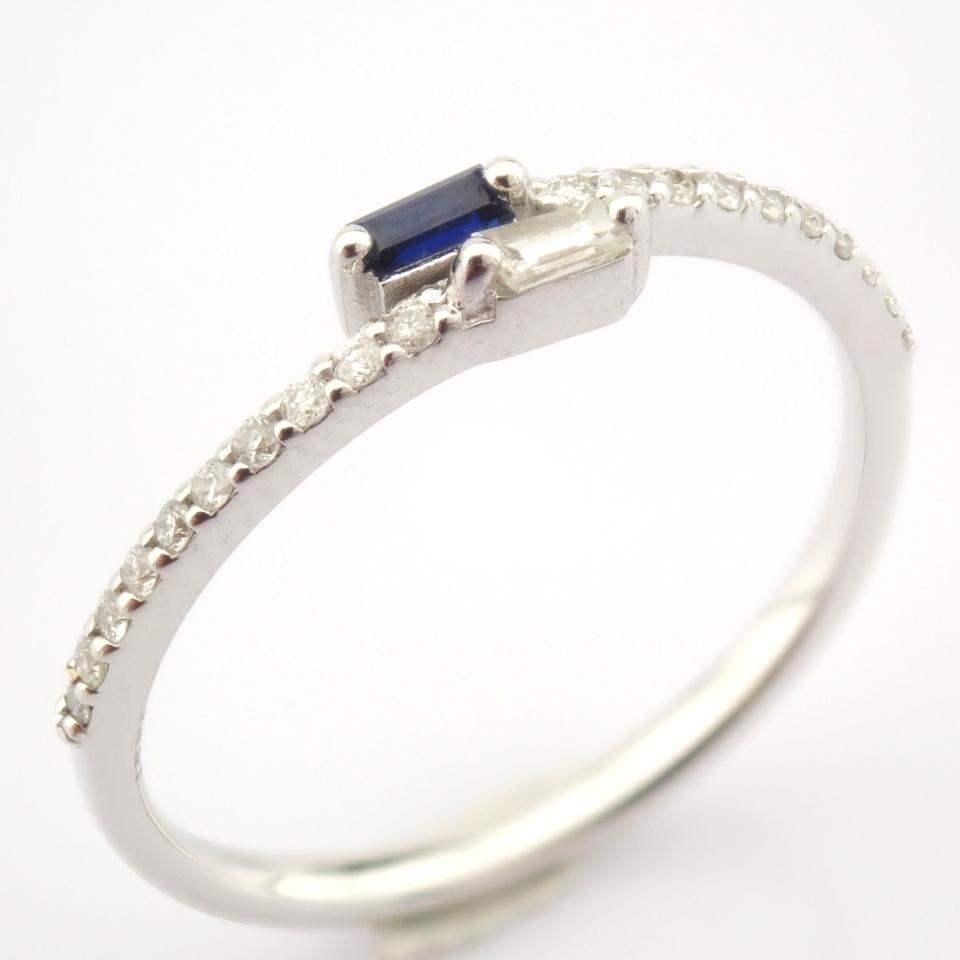 14K White Gold Diamond & Sapphire Ring - Image 2 of 7