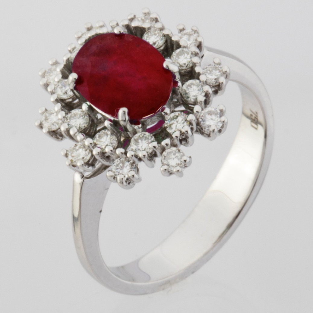 18K White Gold Ruby Cluster Ring Total 1.45 Ct. - Image 2 of 4