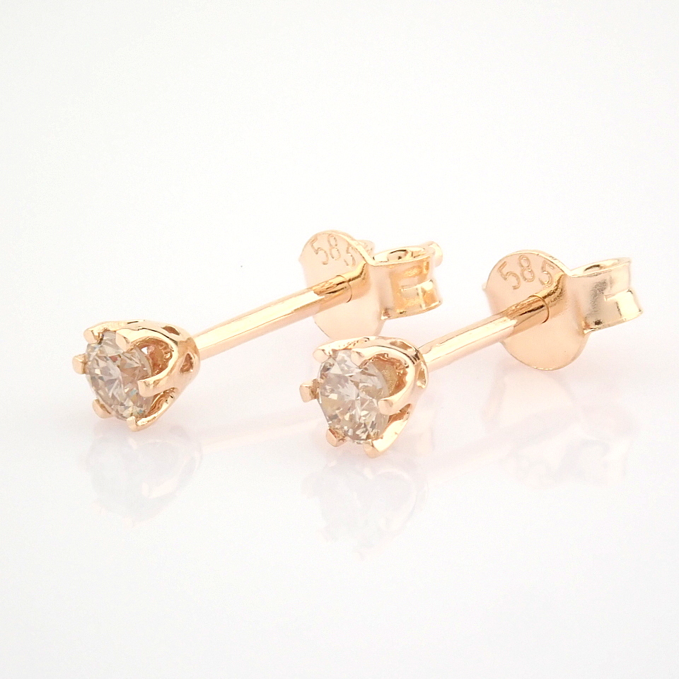 14 Rose/Pink Gold Diamond Solitaire Earring - Image 2 of 8