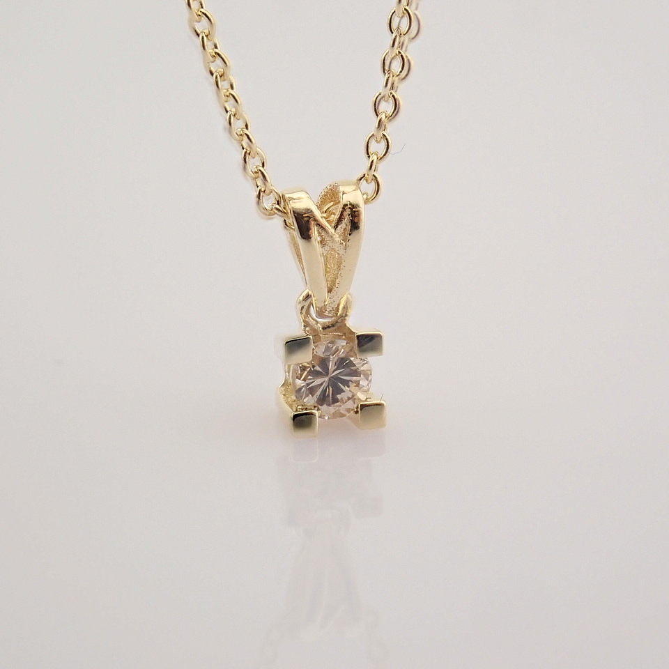 14K Yellow Gold Diamond Solitaire Necklace - Image 8 of 8