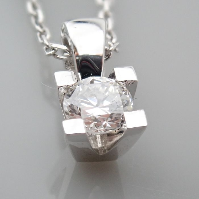 18 kt. White gold - Necklace with pendant - 0.18 Ct. Diamond - Image 7 of 7