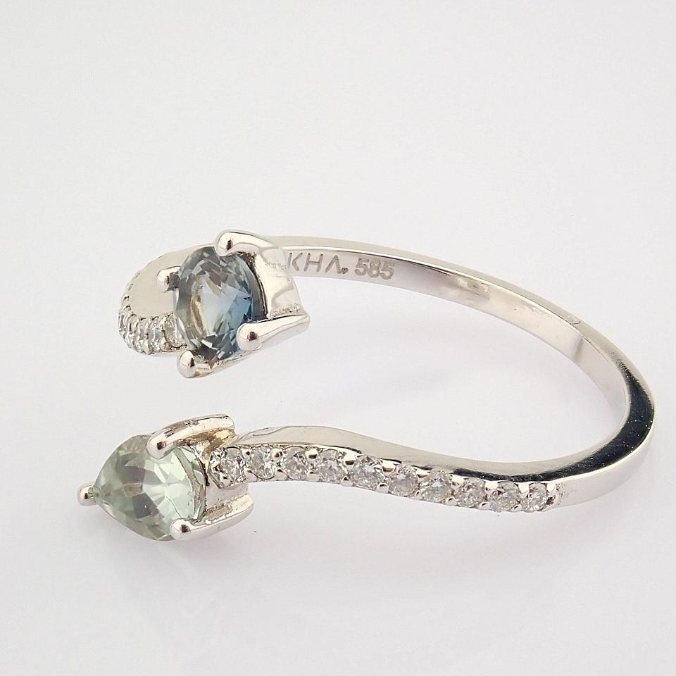 14K White Gold Diamond & Tourmaline Ring - Image 4 of 6
