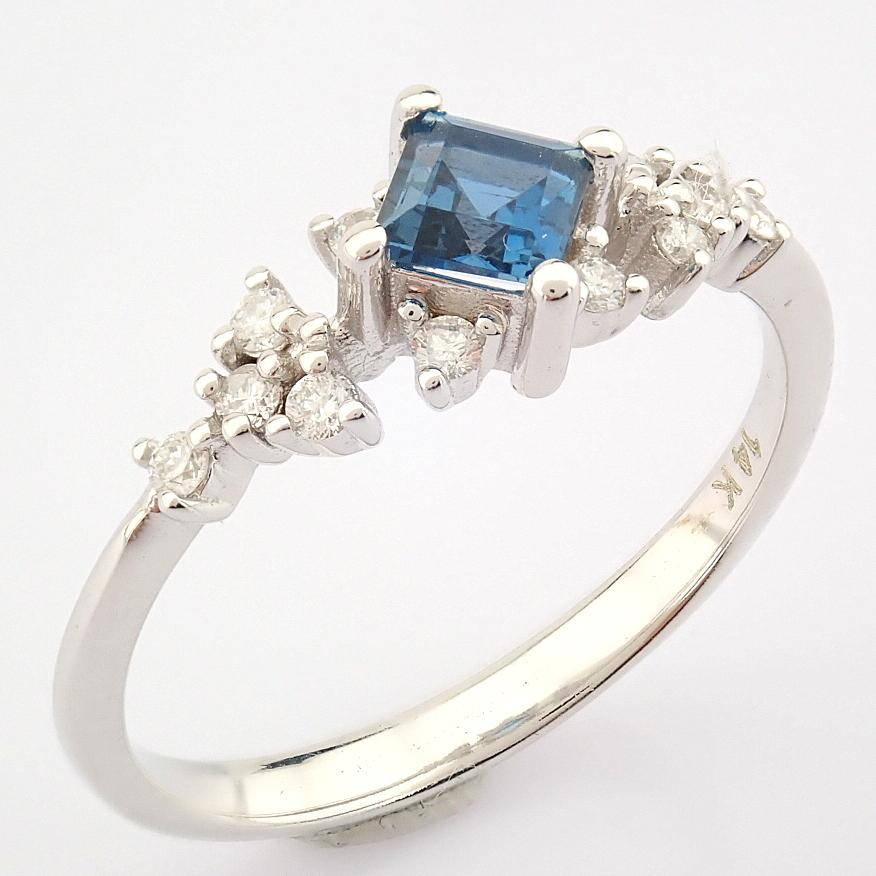 14K White Gold Diamond & London Blue Topaz Ring - Image 9 of 10
