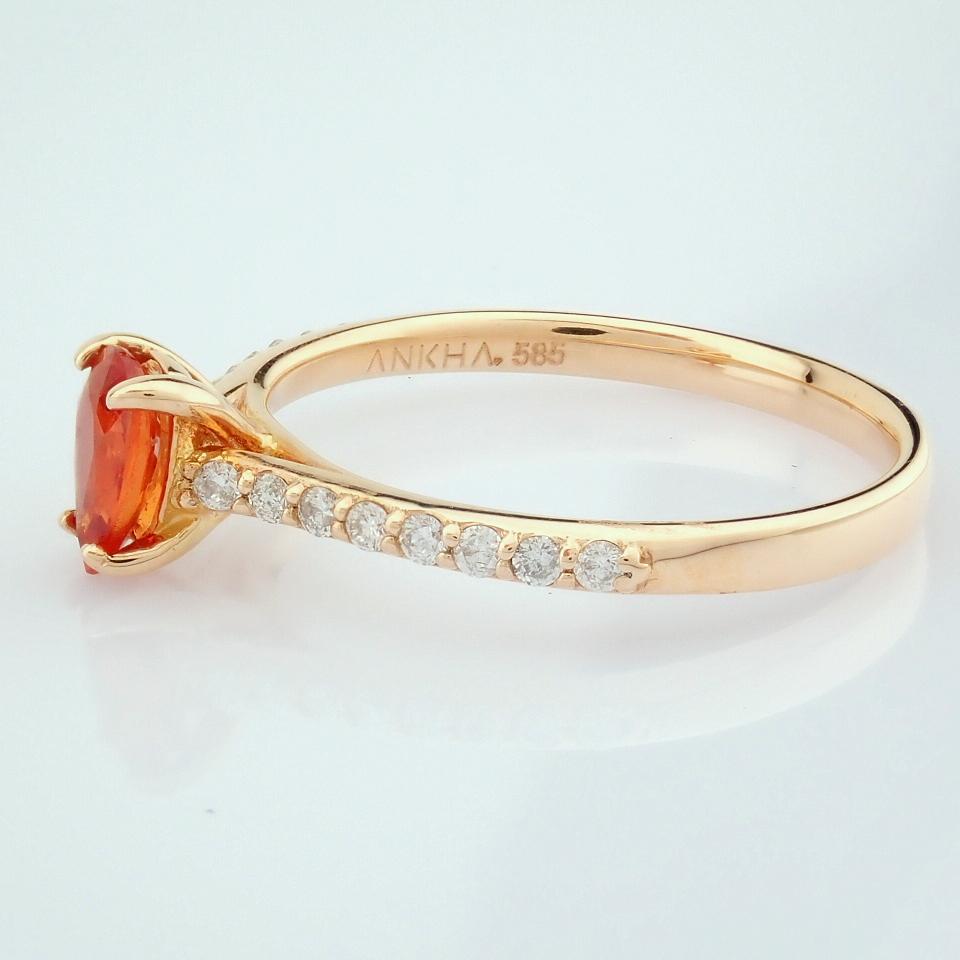 14K Rose/Pink Gold Diamond & Orange Sapphire Ring - Image 5 of 7